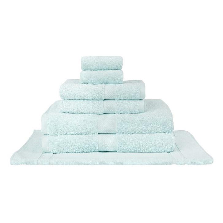 Mildtouch 100% Combed Cotton 7pc Bath Towel Set Soft Aqua | My Linen