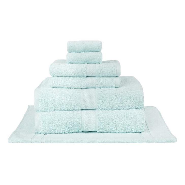 Mildtouch 100% Combed Cotton 7pc Bath Sheet Set Soft Aqua   My Linen
