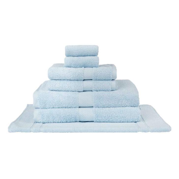 Mildtouch 100% Combed Cotton 7pc Bath Towel Set Baby Blue | My Linen