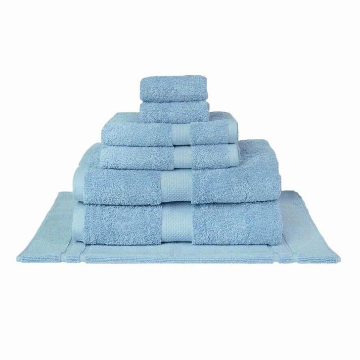 Mildtouch 100% Combed Cotton 7pc Bath Sheet Set Sky Blue | My Linen