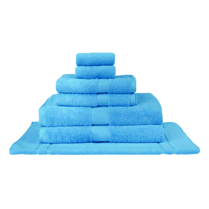 Mildtouch 100% Combed Cotton 7pc Bath Towel Set Aqua | My Linen