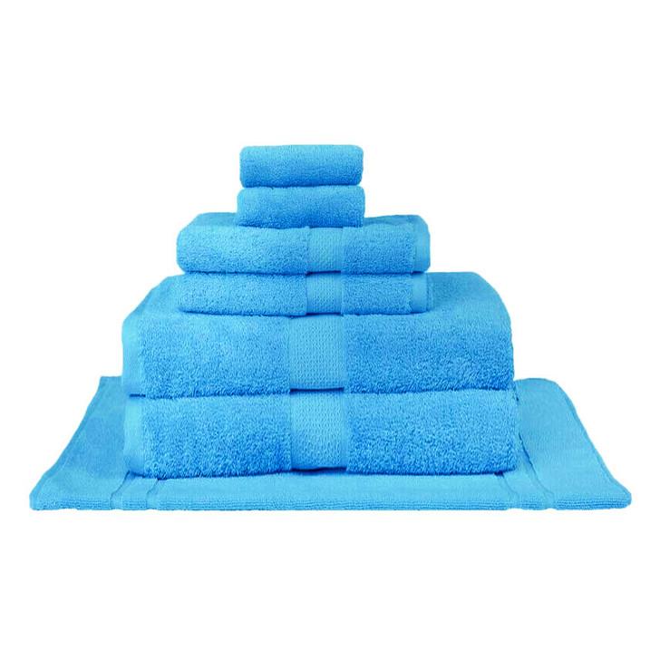 Mildtouch 100% Combed Cotton 7pc Bath Sheet Set Aqua | My Linen