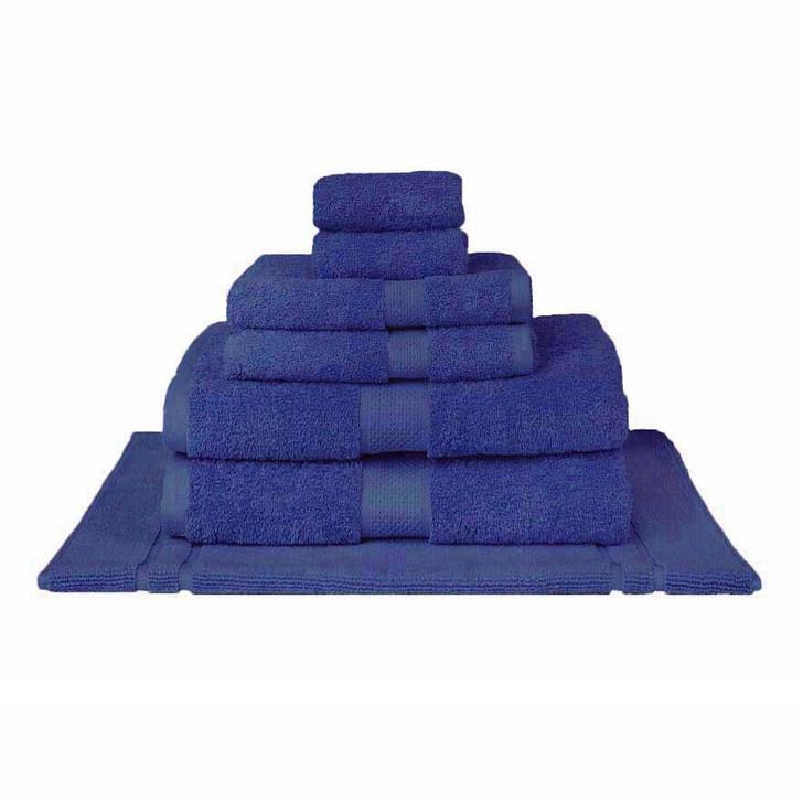 Mildtouch 100% Combed Cotton 7pc Bath Sheet Set Royal Blue | My Linen