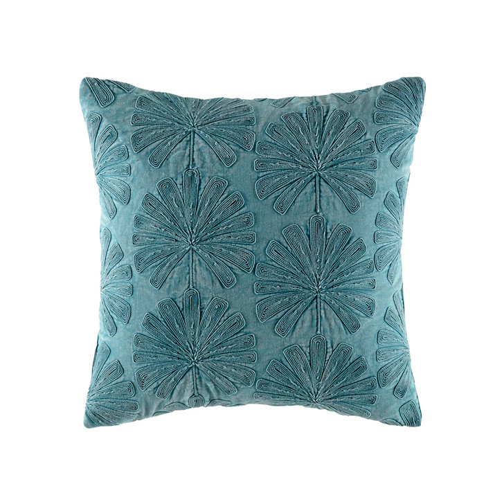 KAS Palma Teal Square Filled Cushion   My Linen