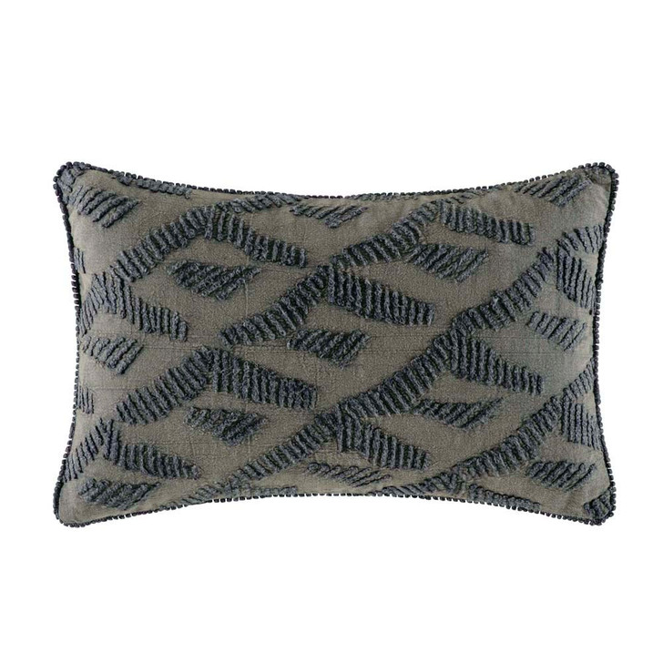 KAS Crispin Charcoal Long Filled Cushion | My Linen