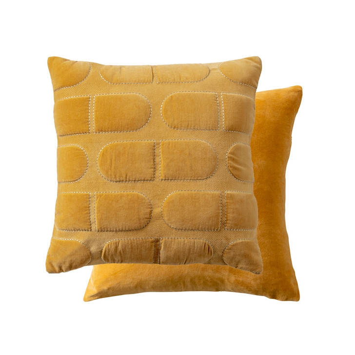 KAS Heda Mustard Square Filled Cushion | My Linen