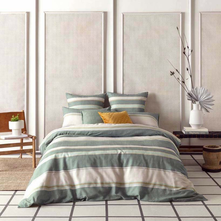 KAS Brooks Green King Bed Quilt Cover Set | My Linen