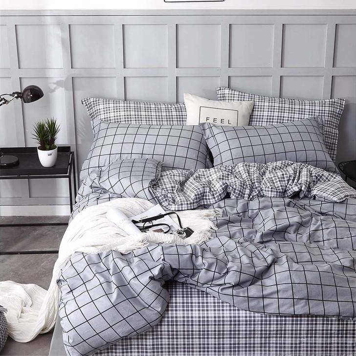 Ardor Arlo Grey Double Bed Quilt Cover Set   My Linen