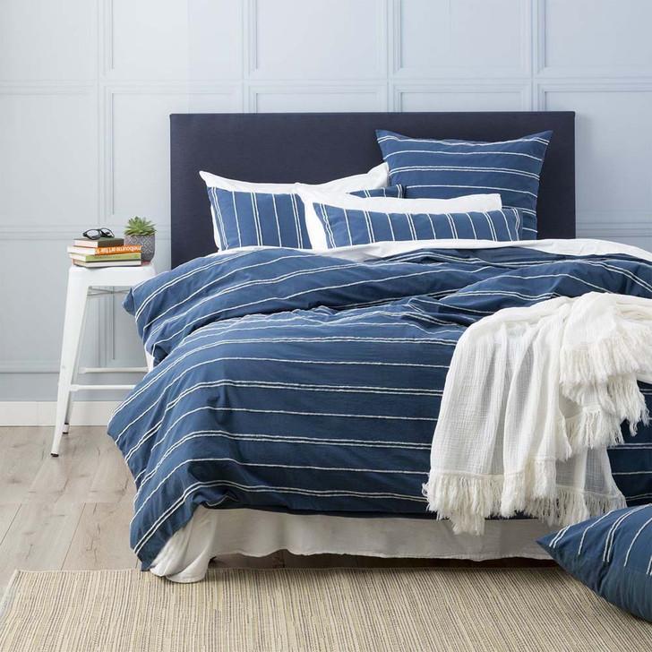 Renee Taylor Hudson Blue Queen Bed Quilt Cover Set   My Linen