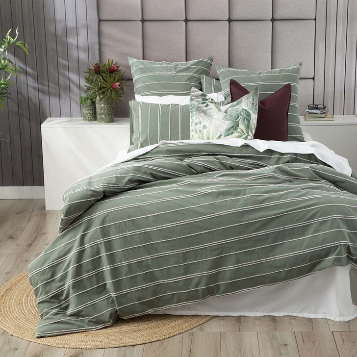 Hudson Sage Quilt Cover Set | King Bed