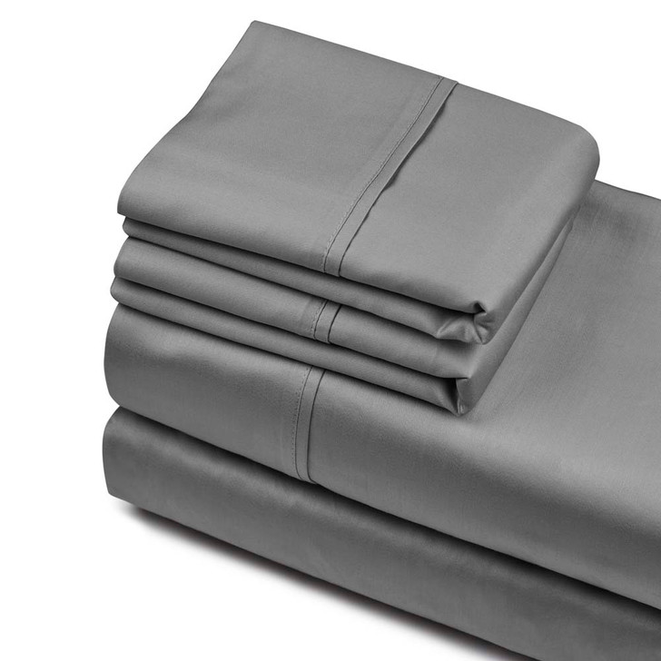 Private Collection 750TC Cotton Sateen King Sheet Set Charcoal   My Linen
