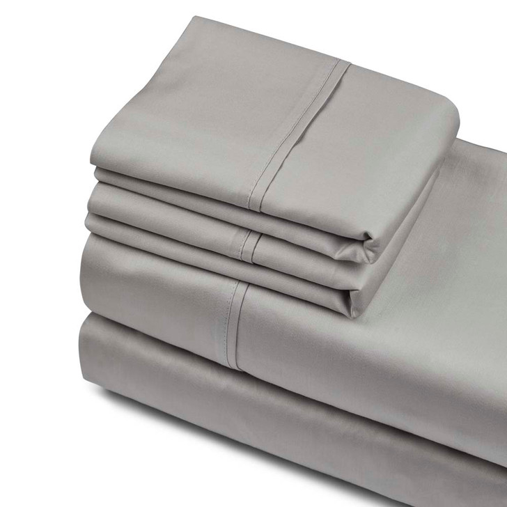 Private Collection 750TC Cotton Sateen King Sheet Set Silver | My Linen