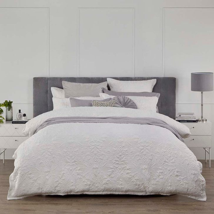 Platinum Logan and Mason Rosenthal White Queen Bed Quilt Cover Set | My Linen