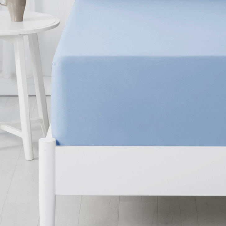 Jenny Mclean Abrazo 100% Cotton Flannelette Long Single Bed Fitted Sheet Blue | My Linen