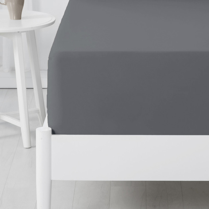 Jenny Mclean Abrazo 100% Cotton Flannelette Long Single Bed Fitted Sheet Charcoal   My Linen
