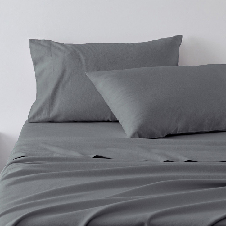Jenny Mclean Abrazo 100% Cotton Flannelette Super King Sheet Set Charcoal   My Linen