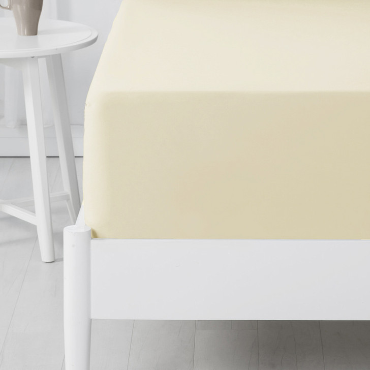 Jenny Mclean Abrazo 100% Cotton Flannelette Long Single Bed Fitted Sheet Ivory | My Linen
