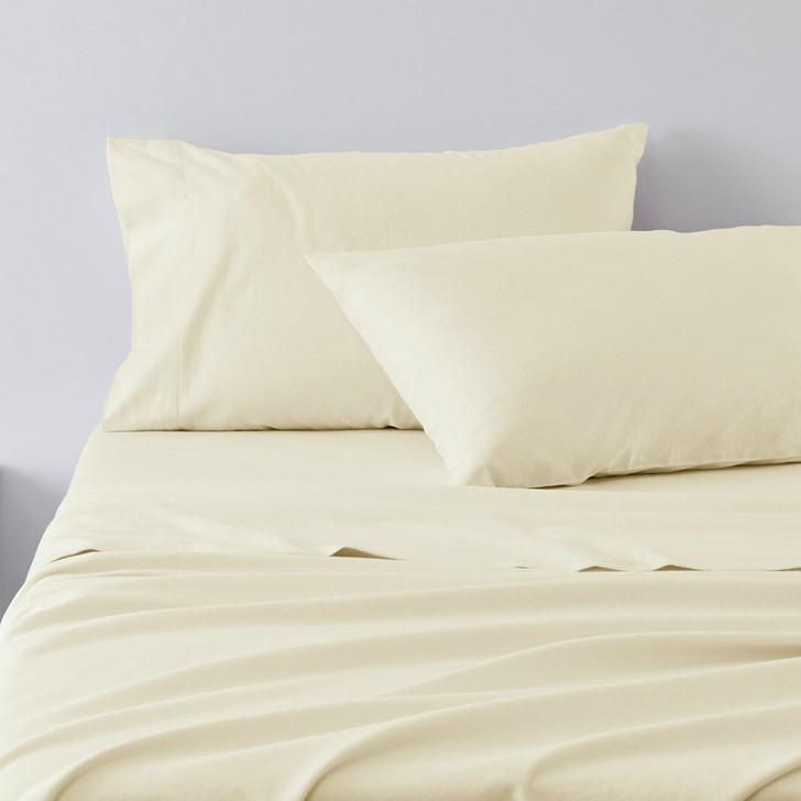 Jenny Mclean Abrazo 100% Cotton Flannelette Split King Sheet Set Ivory | My Linen