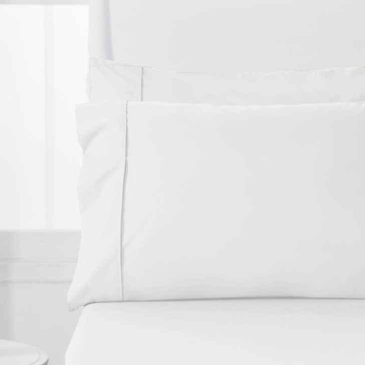 Jenny Mclean Abrazo Flannelette White Standard Pillowcases   My Linen