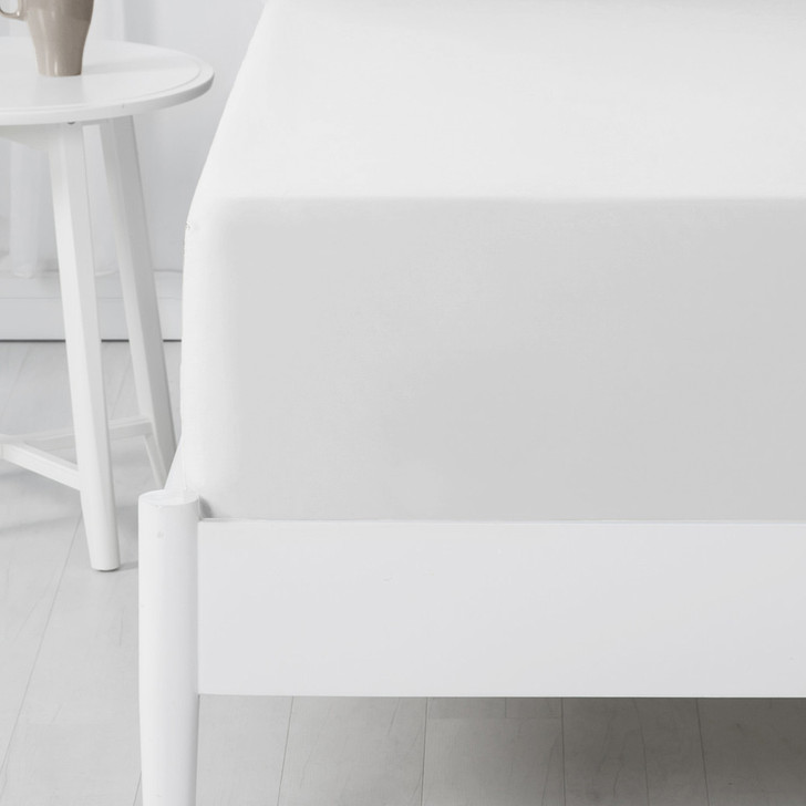 Jenny Mclean Abrazo 100% Cotton Flannelette Long Single Bed Fitted Sheet White | My Linen
