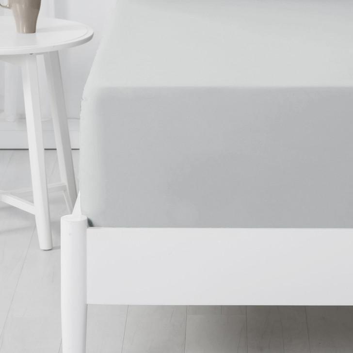 Jenny Mclean Abrazo 100% Cotton Flannelette Long Single Bed Fitted Sheet Silver | My Linen