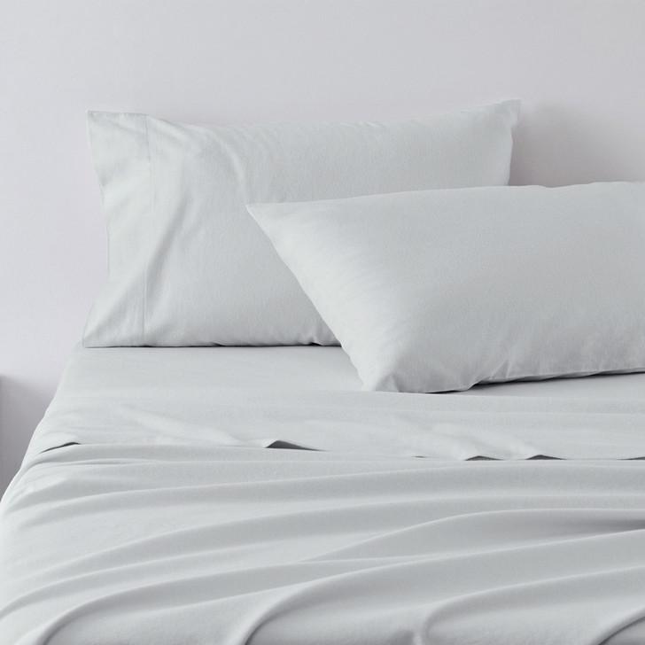 Jenny Mclean Abrazo 100% Cotton Flannelette Split King Sheet Set Silver | My Linen