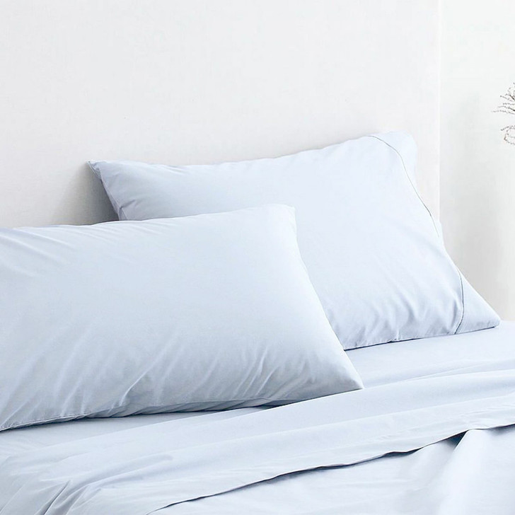 Sheridan 300TC Classic Percale Organic Cotton Soft Blue Standard Pillowcase Pair   My Linen