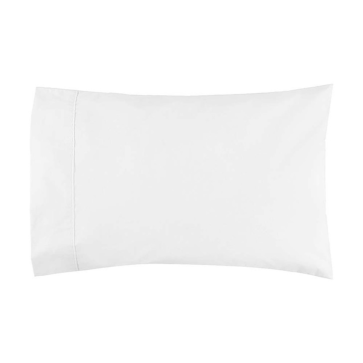 Logan and Mason 300TC Cotton Percale White Standard Pillowcase | My Linen