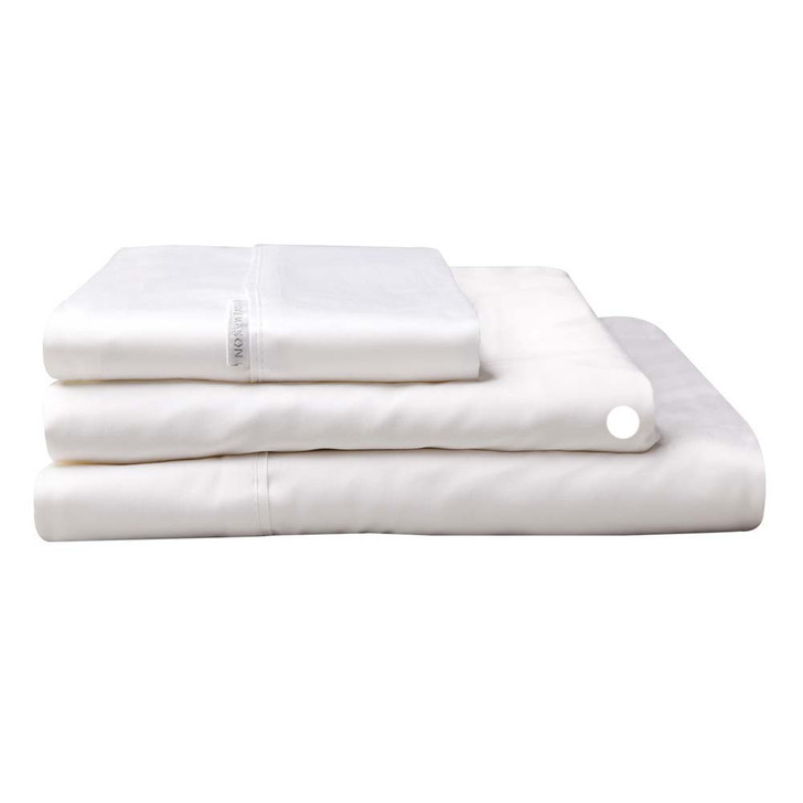 Logan and Mason 300TC Cotton Percale Single Bed Long Fitted Sheet White | My Linen