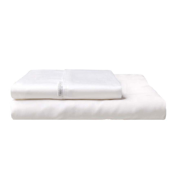 Logan and Mason 300TC Cotton Percale Double Bed Fitted Sheet and Pillowcase Combo White | My Linen