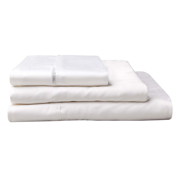Logan and Mason 300TC Cotton Percale Double Bed Sheet Set White | My Linen