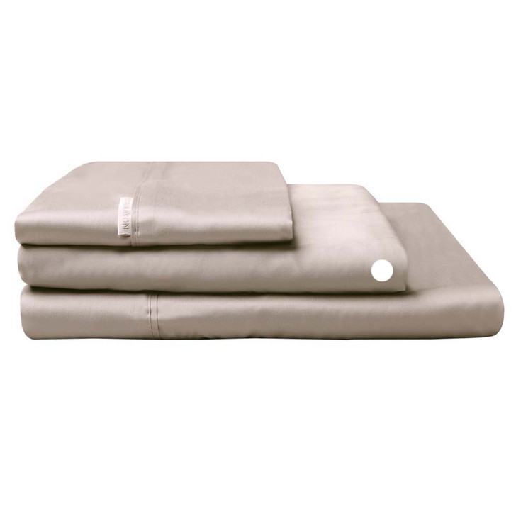 Logan and Mason 300TC Cotton Percale Single Bed Long Fitted Sheet Stone   My Linen