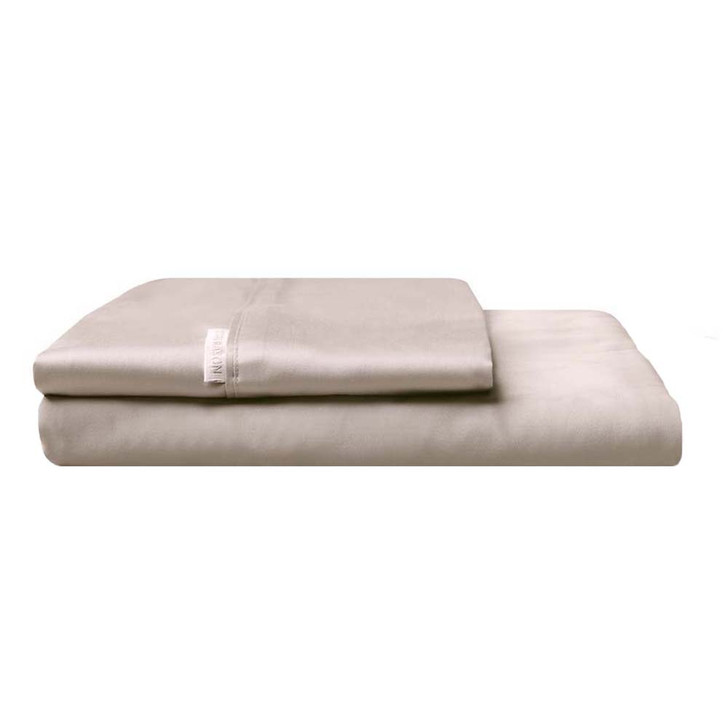 Logan and Mason 300TC Cotton Percale Double Bed Fitted Sheet and Pillowcase Combo Stone   My Linen
