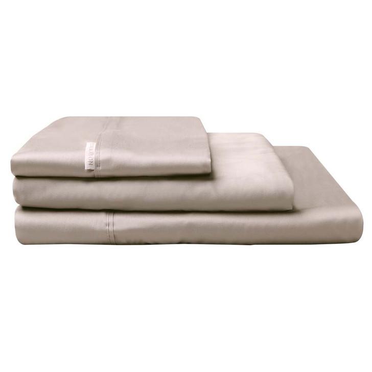 Logan and Mason 300TC Cotton Percale Single Bed Sheet Set Stone | My Linen