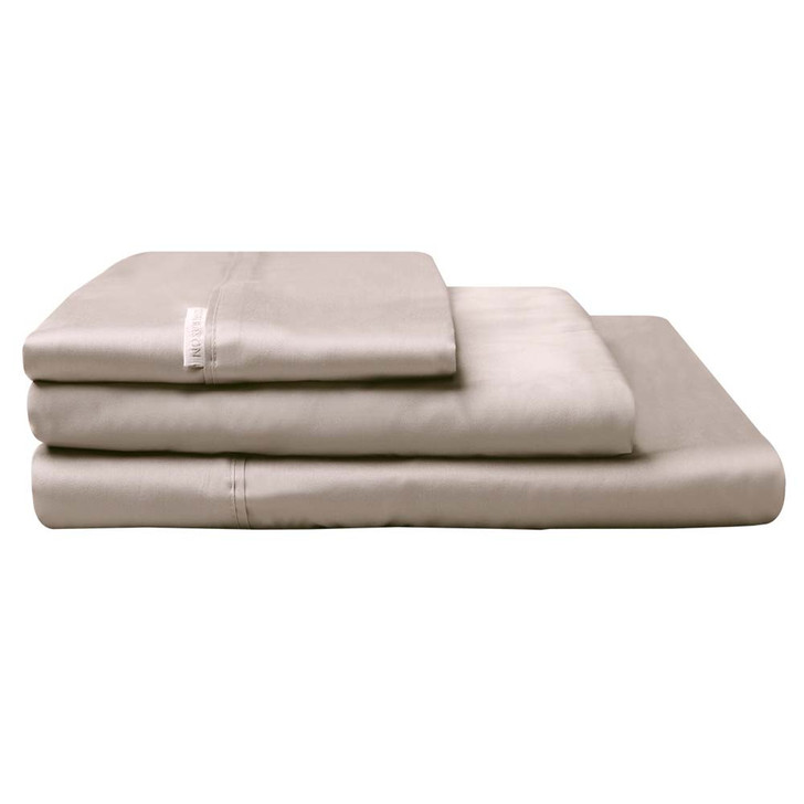 Logan and Mason 300TC Cotton Percale Queen Bed Sheet Set Stone   My Linen