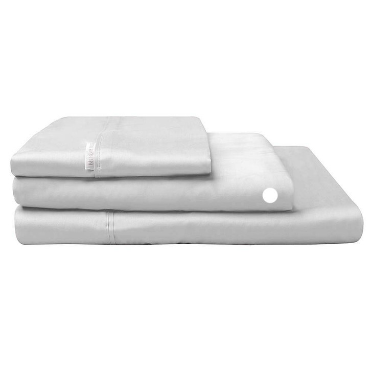 Logan and Mason 300TC Cotton Percale Single Bed Long Fitted Sheet Silver | My Linen
