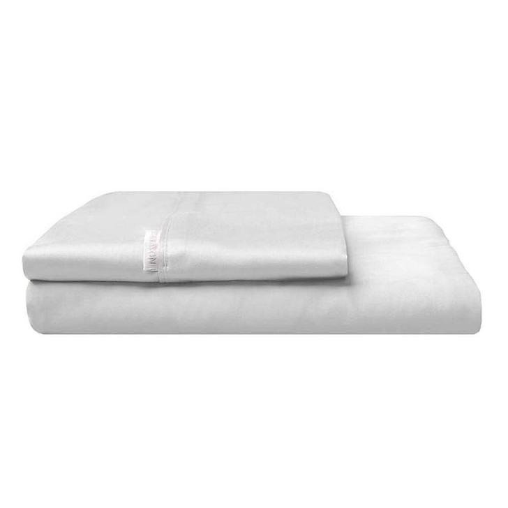 Logan and Mason 300TC Cotton Percale Queen Bed Fitted Sheet and Pillowcase Combo Silver | My Linen