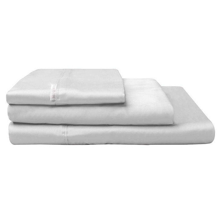 Logan and Mason 300TC Cotton Percale Double Bed Sheet Set Silver | My Linen