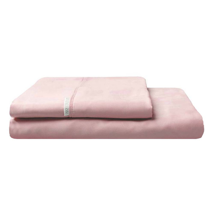 Logan and Mason 300TC Cotton Percale King Bed Fitted Sheet and Pillowcase Combo Dusk    My Linen