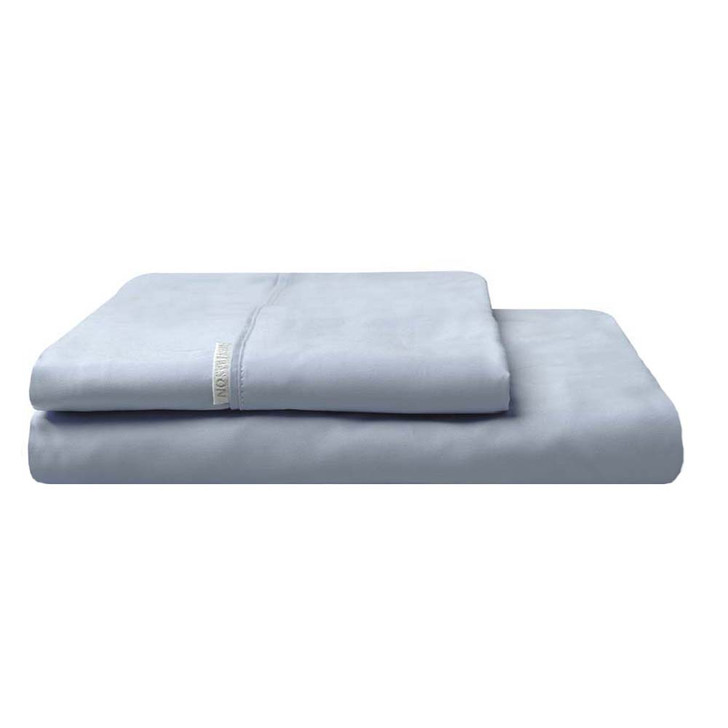 Logan and Mason 300TC Cotton Percale Single Bed Fitted Sheet and Pillowcase Combo Denim Pillowcase   My Linen