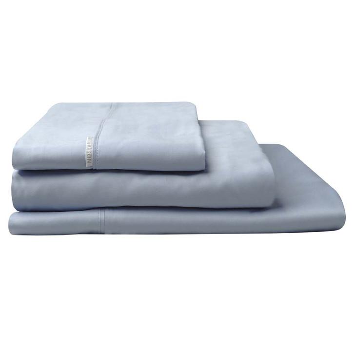 Logan and Mason 300TC Cotton Percale Queen Bed Sheet Set Denim | My Linen