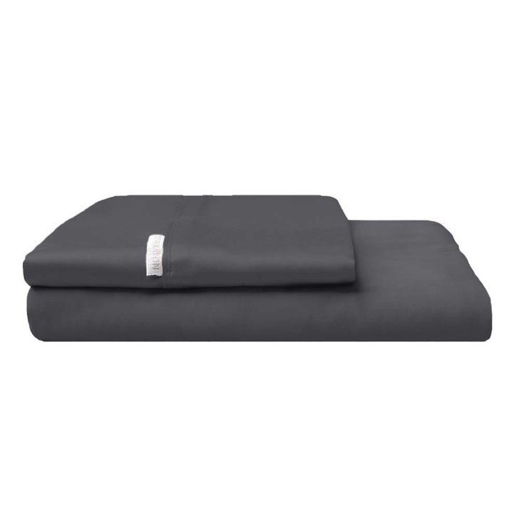 Logan and Mason 300TC Cotton Percale Queen Bed Fitted Sheet and Pillowcase Combo Charcoal   My Linen