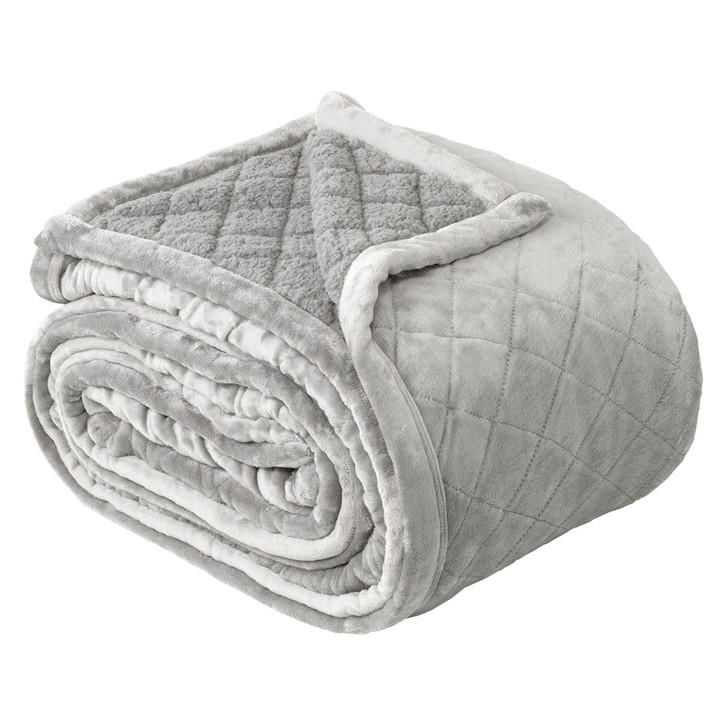 Bianca Mansfield Sherpa Velvet Single / Double Bed Blanket Aluminium   My Linen