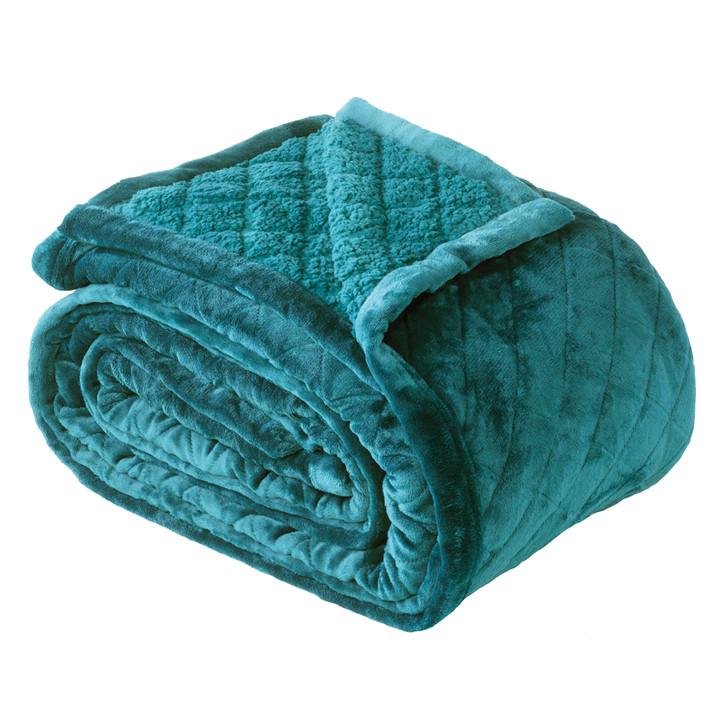 Bianca Mansfield Sherpa Velvet Super King Blanket Teal | My Linen