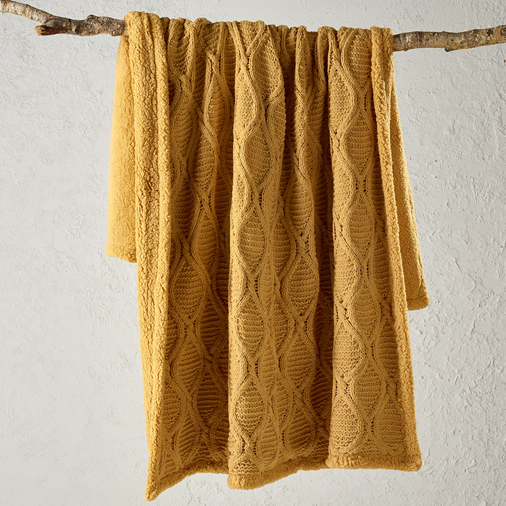 Bianca Sorrento Sherpa Mustard Throw | My Linen