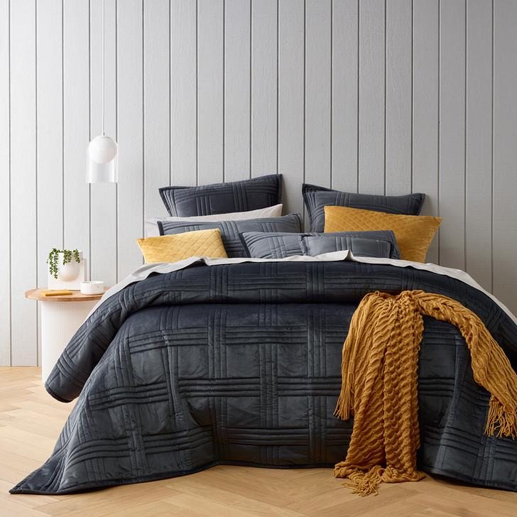 Bianca Dayton Charcoal Queen / King Bed Coverlet Set   My Linen