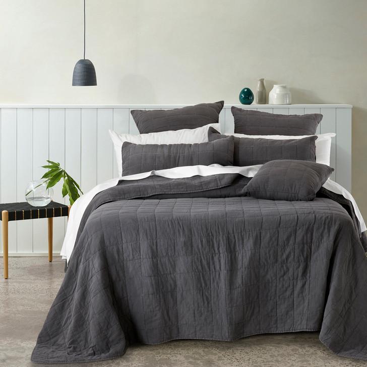 Bianca Geraldton Coal Queen / King Bed Coverlet Set   My Linen