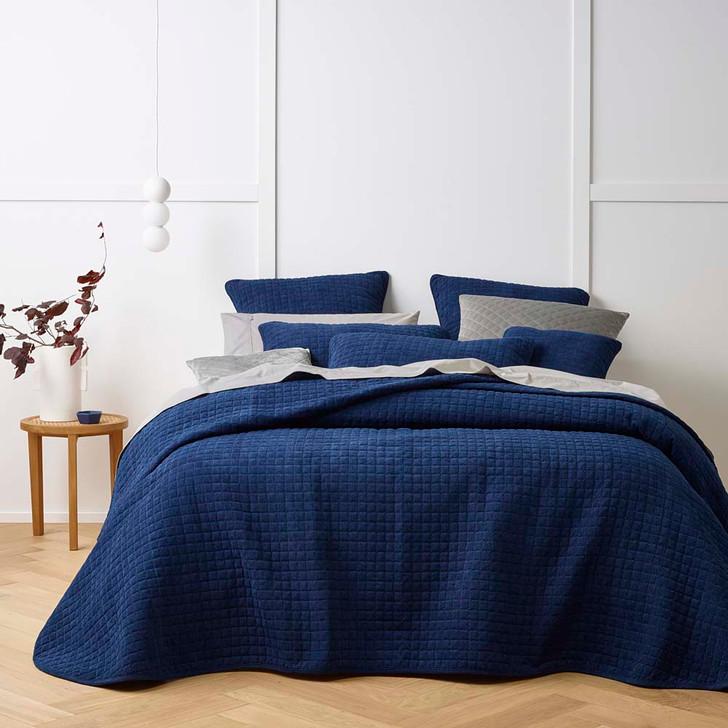 Bianca Turin Indigo Queen / King Bed Coverlet Set   My Linen
