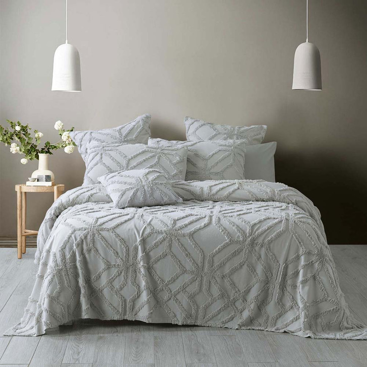 Bianca Willow Silver Single / Double Bed Coverlet Set | My Linen