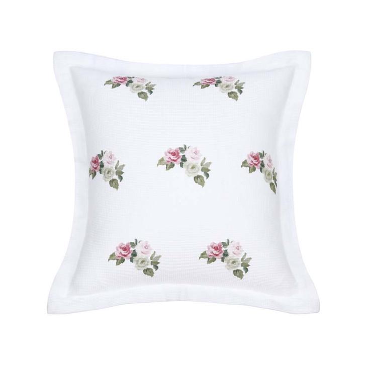 Bianca Elegance English Rose White Square Filled Cushion | My Linen
